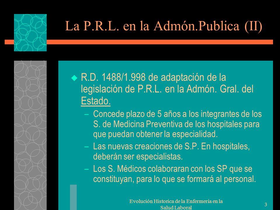 Evolución Historica de la Enfermería en la Salud Laboral 3 La P.R.L.
