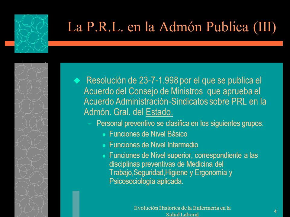 Evolución Historica de la Enfermería en la Salud Laboral 4 La P.R.L.