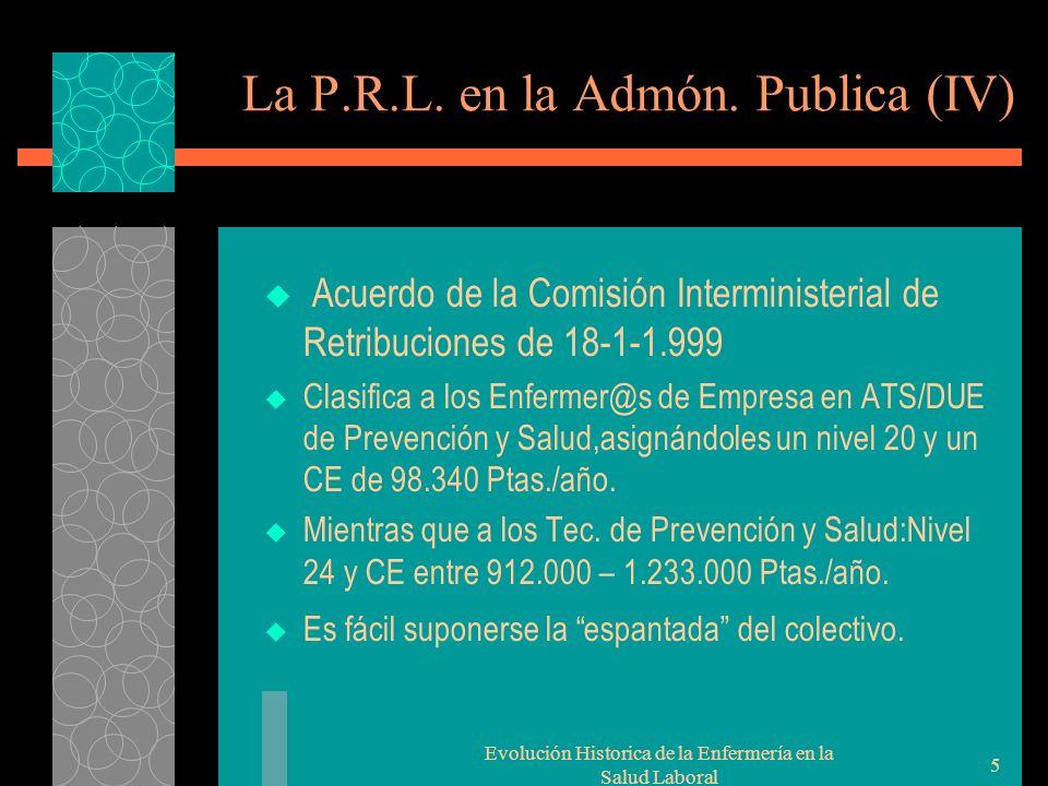 Evolución Historica de la Enfermería en la Salud Laboral 5 La P.R.L.