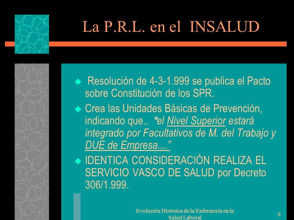Evolución Historica de la Enfermería en la Salud Laboral 6 La P.R.L.