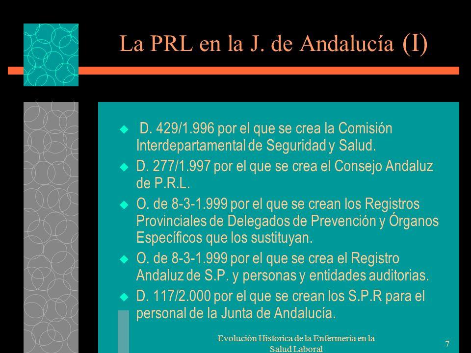 Evolución Historica de la Enfermería en la Salud Laboral 7 La PRL en la J.
