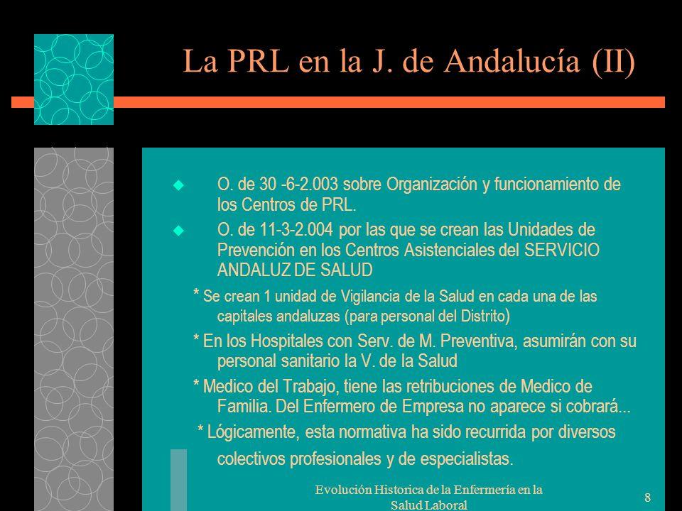 Evolución Historica de la Enfermería en la Salud Laboral 8 La PRL en la J.