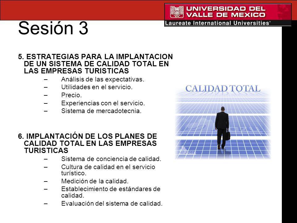 Sesión 3 5. ESTRATEGIAS PARA LA IMPLANTACION DE UN SISTEMA DE CALIDAD TOTAL EN LAS EMPRESAS TURISTICAS –Análisis de las expectativas. –Utilidades en e