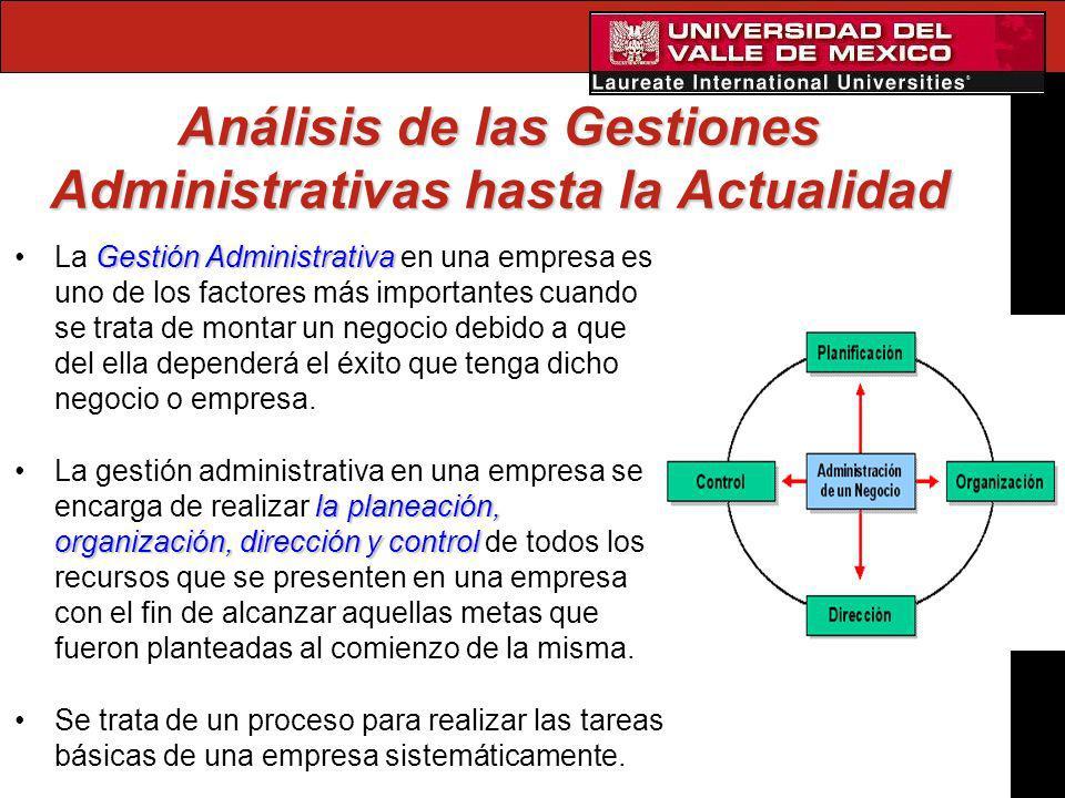 Análisis de las Gestiones Administrativas hasta la Actualidad Gestión AdministrativaLa Gestión Administrativa en una empresa es uno de los factores má
