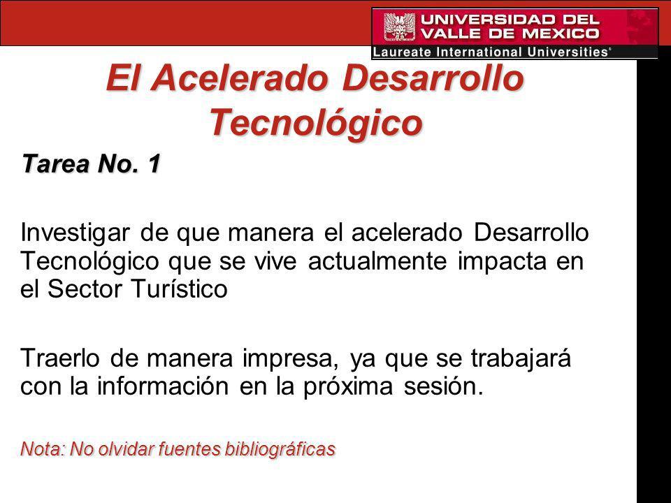 El Acelerado Desarrollo Tecnológico Tarea No. 1 Investigar de que manera el acelerado Desarrollo Tecnológico que se vive actualmente impacta en el Sec