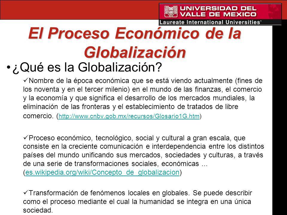 El Proceso Económico de la Globalización ¿Qué es la Globalización? Nombre de la época económica que se está viendo actualmente (fines de los noventa y