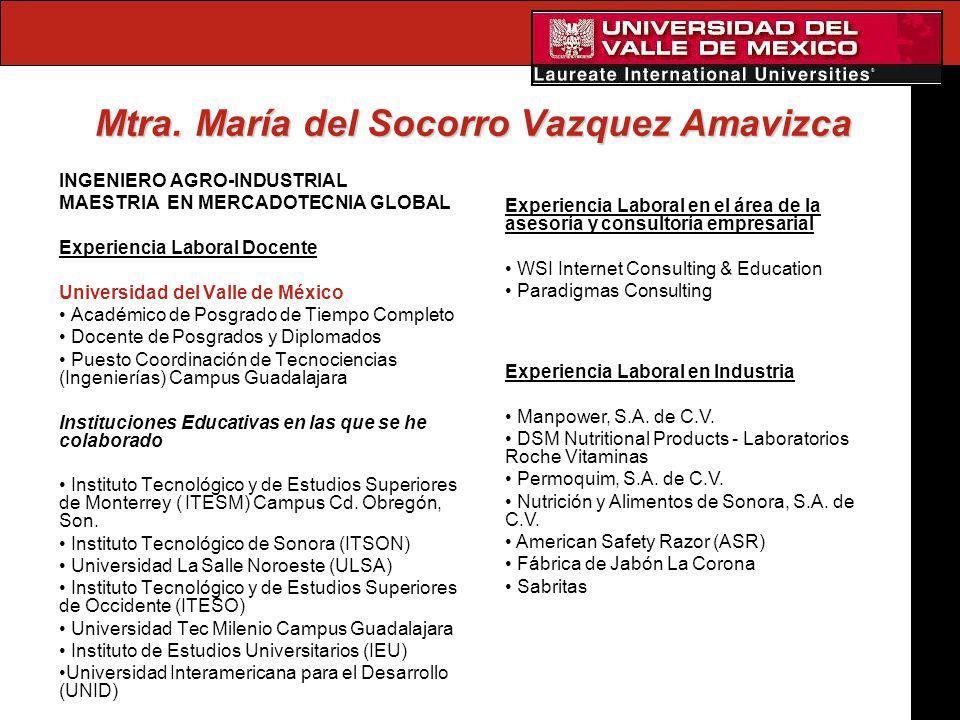 Mtra. María del Socorro Vazquez Amavizca INGENIERO AGRO-INDUSTRIAL MAESTRIA EN MERCADOTECNIA GLOBAL Experiencia Laboral Docente Universidad del Valle