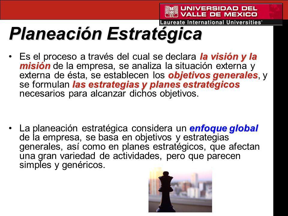 Planeación Estratégica la visión y la misión objetivos generales las estrategias y planes estratégicosEs el proceso a través del cual se declara la vi