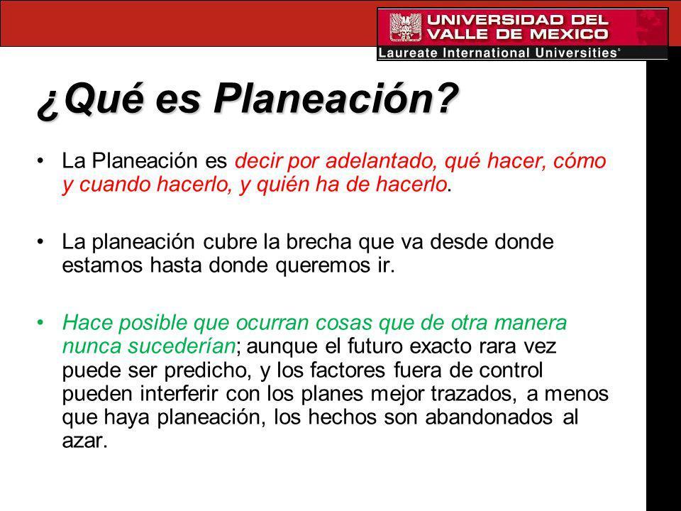 ¿Qué es Planeación? La Planeación es decir por adelantado, qué hacer, cómo y cuando hacerlo, y quién ha de hacerlo. La planeación cubre la brecha que