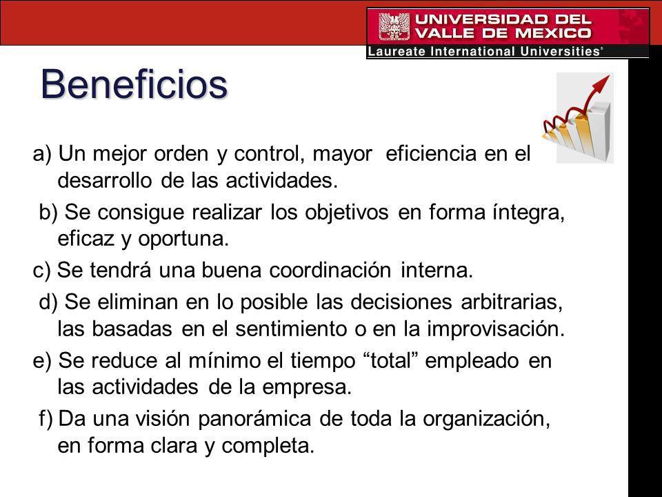 Beneficios a) Un mejor orden y control, mayor eficiencia en el desarrollo de las actividades. b) Se consigue realizar los objetivos en forma íntegra,