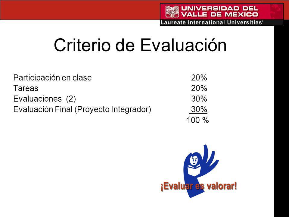 Criterio de Evaluación Participación en clase 20% Tareas 20% Evaluaciones (2) 30% Evaluación Final (Proyecto Integrador) 30% 100 %