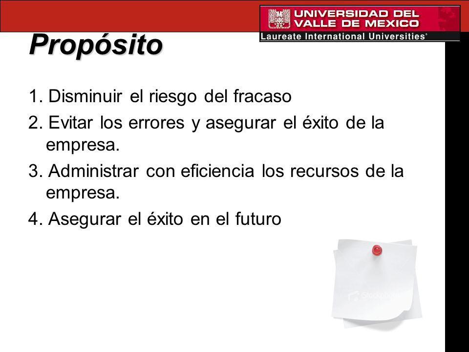 Propósito 1. Disminuir el riesgo del fracaso 2. Evitar los errores y asegurar el éxito de la empresa. 3. Administrar con eficiencia los recursos de la