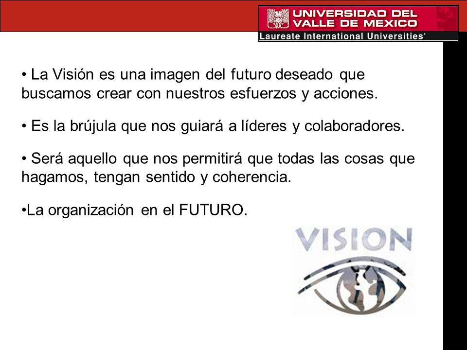 La Visión es una imagen del futuro deseado que buscamos crear con nuestros esfuerzos y acciones. Es la brújula que nos guiará a líderes y colaboradore