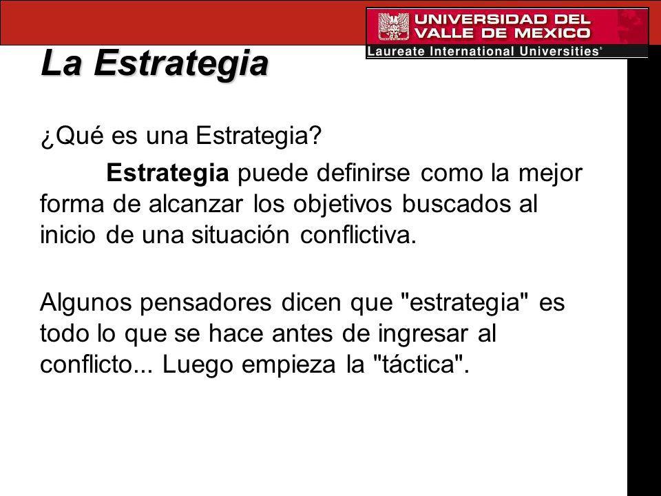La Estrategia ¿Qué es una Estrategia? Estrategia puede definirse como la mejor forma de alcanzar los objetivos buscados al inicio de una situación con