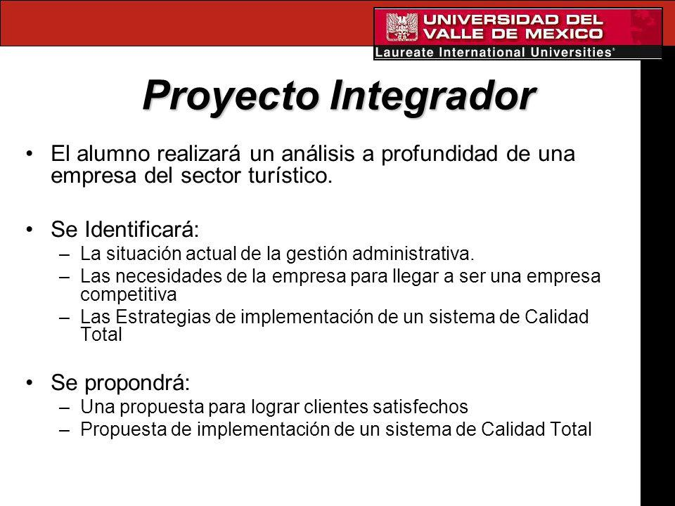 Proyecto Integrador El alumno realizará un análisis a profundidad de una empresa del sector turístico. Se Identificará: –La situación actual de la ges