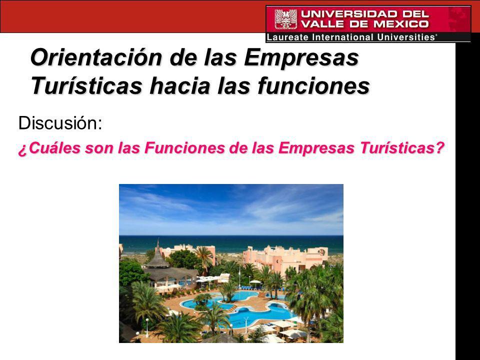 Orientación de las Empresas Turísticas hacia las funciones Discusión: ¿Cuáles son las Funciones de las Empresas Turísticas?