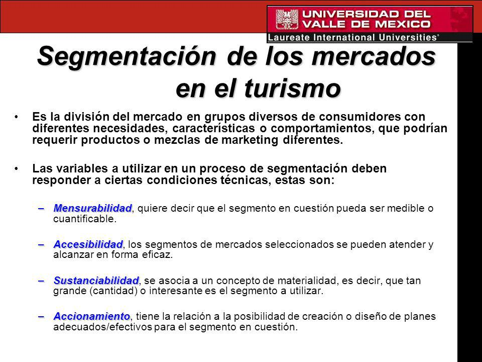 Segmentación de los mercados en el turismo Es la división del mercado en grupos diversos de consumidores con diferentes necesidades, características o
