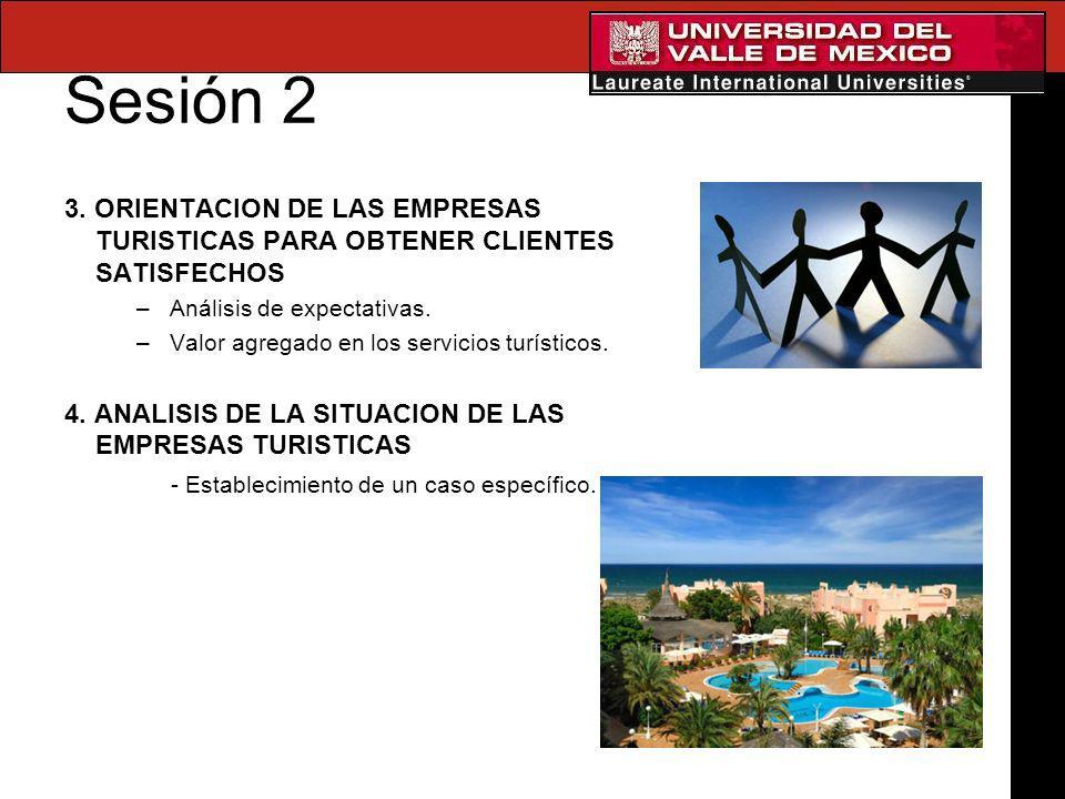 Sesión 2 3. ORIENTACION DE LAS EMPRESAS TURISTICAS PARA OBTENER CLIENTES SATISFECHOS –Análisis de expectativas. –Valor agregado en los servicios turís