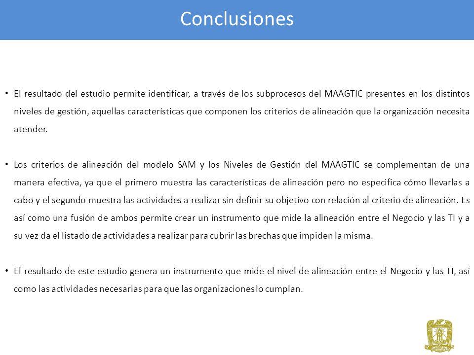 Conclusiones El resultado del estudio permite identificar, a través de los subprocesos del MAAGTIC presentes en los distintos niveles de gestión, aque