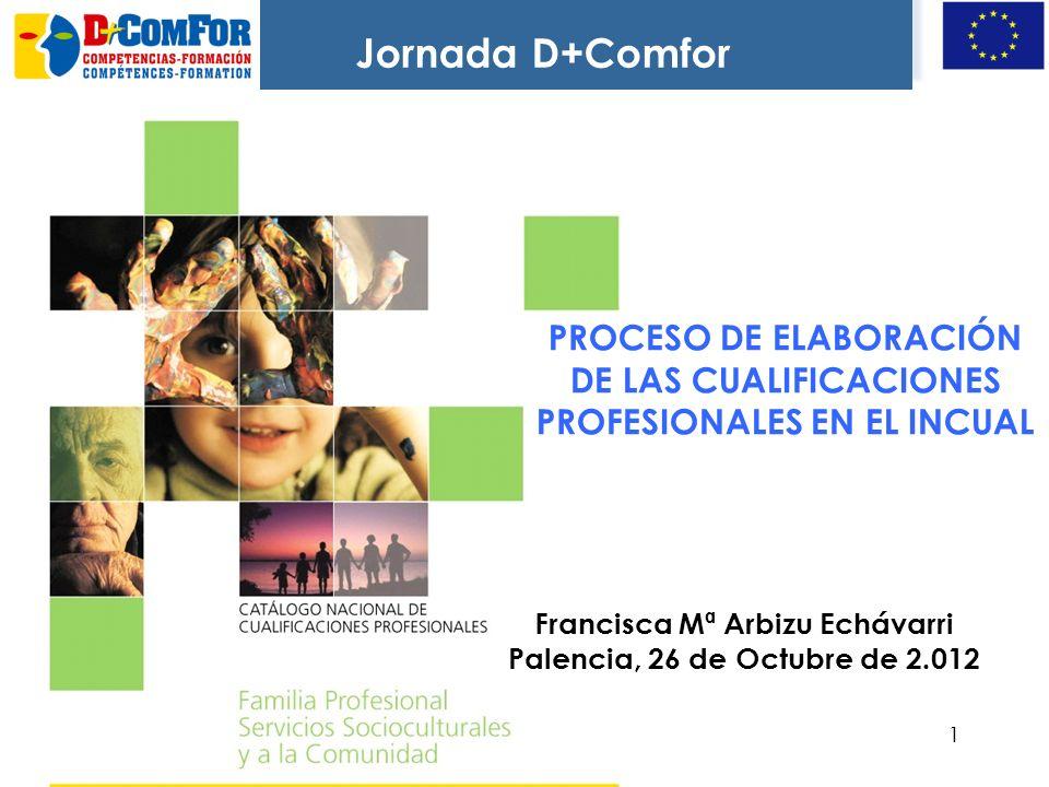 11 PROCESO DE ELABORACIÓN DE LAS CUALIFICACIONES PROFESIONALES EN EL INCUAL Francisca Mª Arbizu Echávarri Palencia, 26 de Octubre de 2.012 Jornada D+Comfor