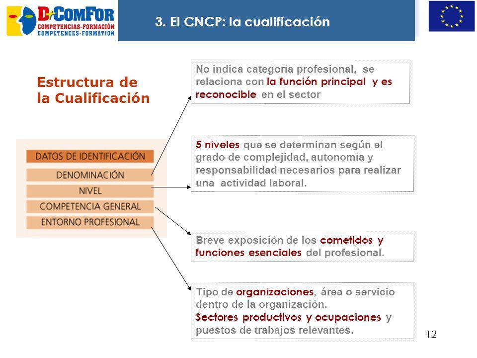 11 3. El CATÁLOGO NACIONAL DE CUALIFICACIONES: La cualificación