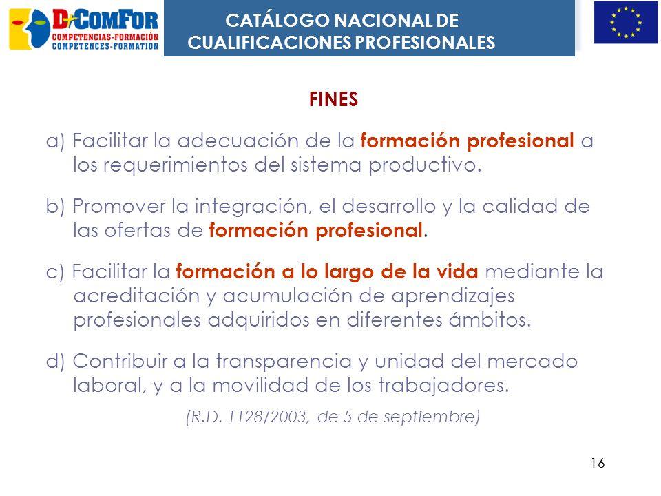 15 Estructura: dos ejes 26 familias profesionales 5 niveles Qué funciones tiene Referente común para sistemas formativos. Referente para evaluación y
