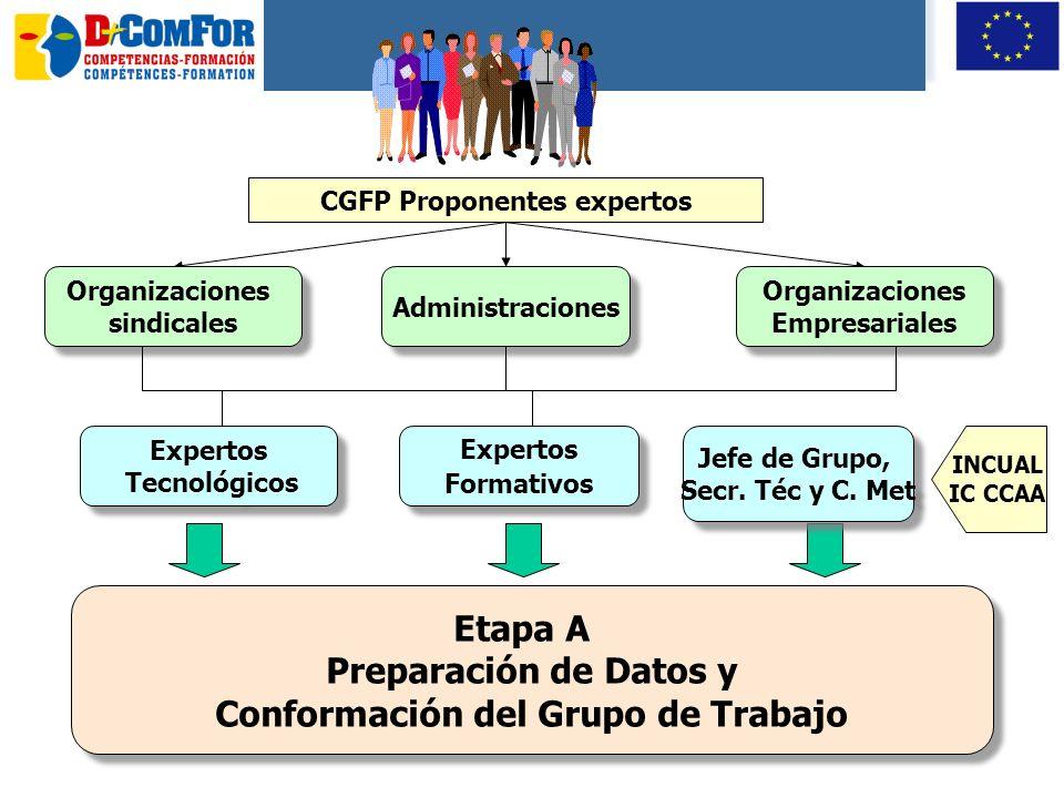 23 A Preparación datos y conformación GT B Diseño de la Cualificación C Definición de la formación asociada E Aprobación de las cualificaciones D Cont