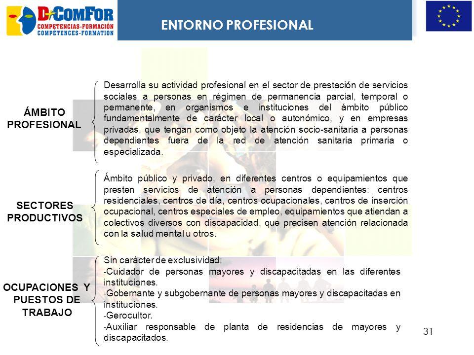 30 COMPETENCIA GENERAL Atender y ayudar en el ámbito socio-sanitario en la institución donde se desarrolle su actuación, a personas con especiales nec