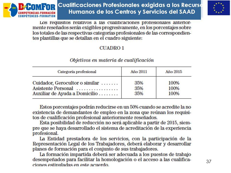 36 En la Resolución de 2 de diciembre de 2008, se contempla la profesionalización de los recursos humanos del sistema, para garantizar la calidad del