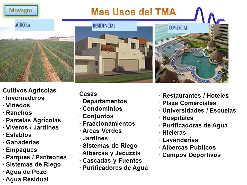 Cultivos Agrícolas · Invernaderos · Viñedos · Ranchos · Parcelas Agrícolas · Viveros / Jardines · Establos · Ganaderías · Empaques · Parques / Panteones · Sistemas de Riego · Agua de Pozo · Agua Residual Casas · Departamentos · Condominios · Conjuntos · Fraccionamientos · Áreas Verdes · Jardines · Sistemas de Riego · Albercas y Jacuzzis · Cascadas y Fuentes · Purificadores de Agua · Restaurantes / Hoteles · Plaza Comerciales · Universidades / Escuelas · Hospitales · Purificadoras de Agua · Hieleras · Lavanderías · Albercas Públicos · Campos Deportivos