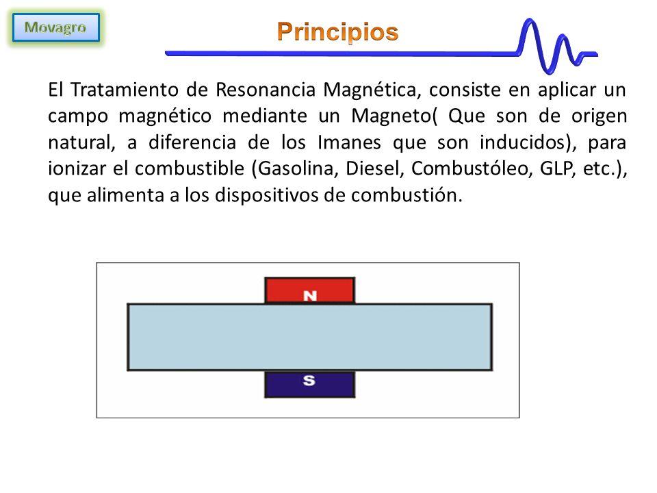 El Tratamiento de Resonancia Magnética, consiste en aplicar un campo magnético mediante un Magneto( Que son de origen natural, a diferencia de los Imanes que son inducidos), para ionizar el combustible (Gasolina, Diesel, Combustóleo, GLP, etc.), que alimenta a los dispositivos de combustión.