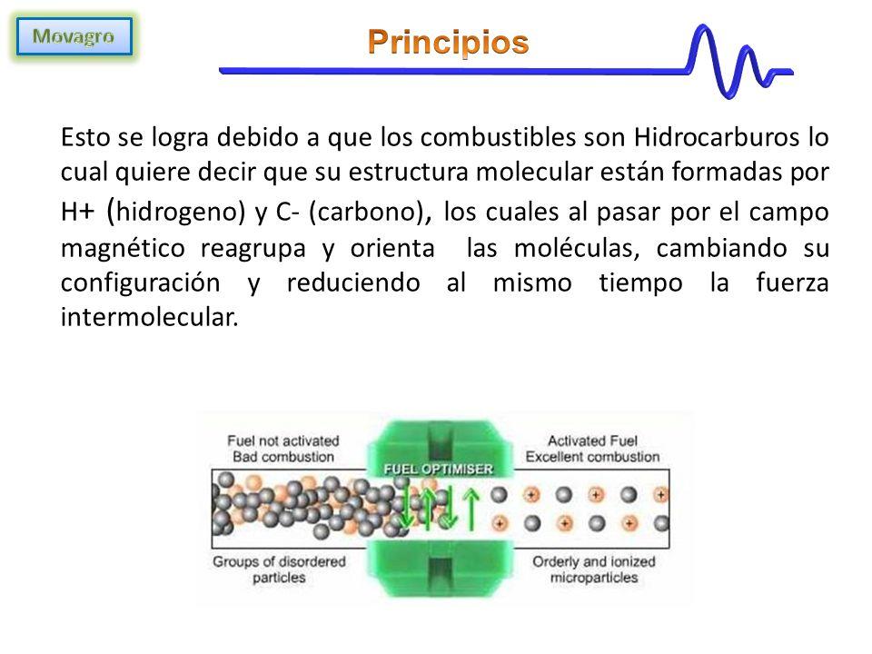 Esto se logra debido a que los combustibles son Hidrocarburos lo cual quiere decir que su estructura molecular están formadas por H + ( hidrogeno) y C- (carbono), los cuales al pasar por el campo magnético reagrupa y orienta las moléculas, cambiando su configuración y reduciendo al mismo tiempo la fuerza intermolecular.