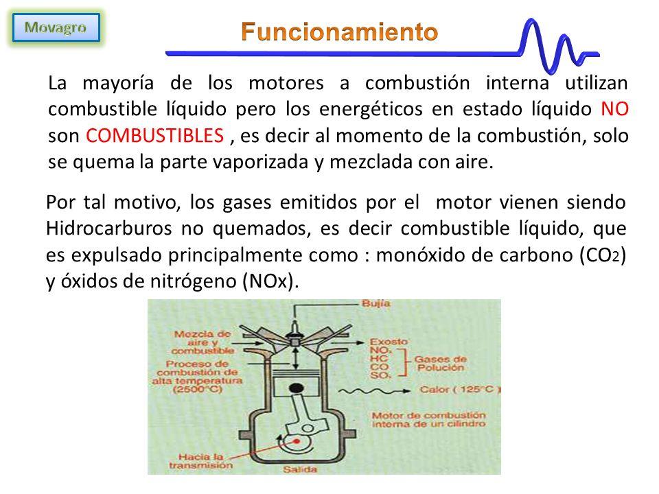 La mayoría de los motores a combustión interna utilizan combustible líquido pero los energéticos en estado líquido NO son COMBUSTIBLES, es decir al momento de la combustión, solo se quema la parte vaporizada y mezclada con aire.