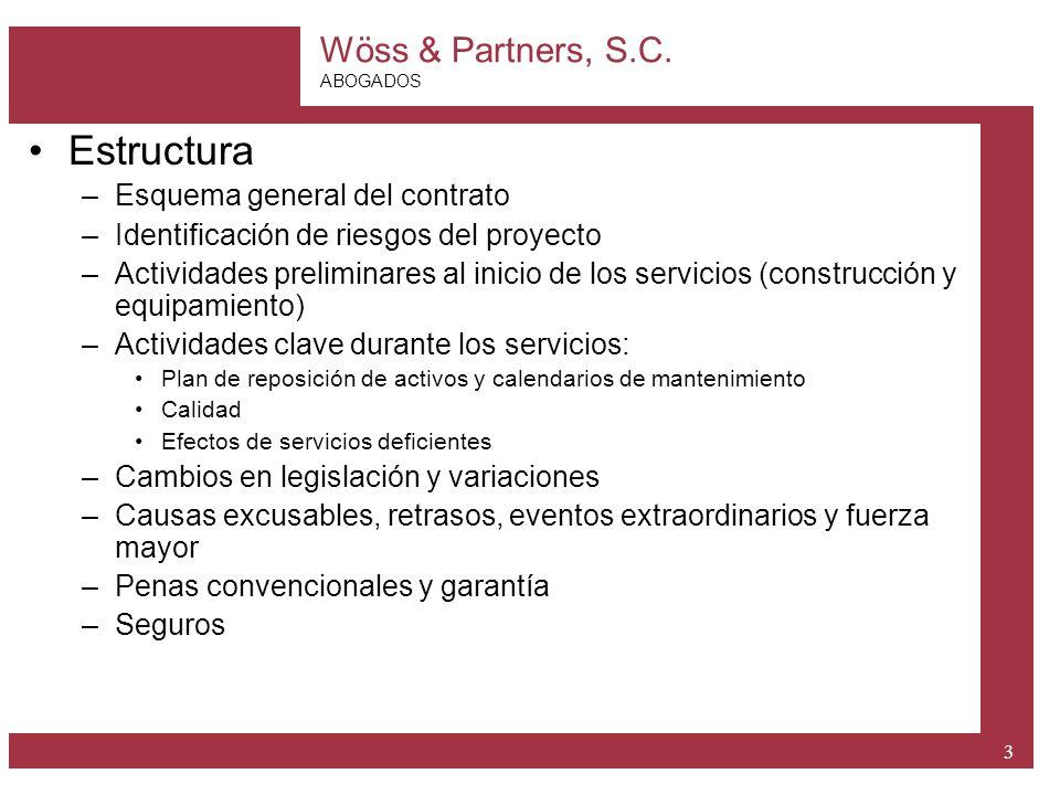 Wöss & Partners, S.C. ABOGADOS 3 Estructura –Esquema general del contrato –Identificación de riesgos del proyecto –Actividades preliminares al inicio