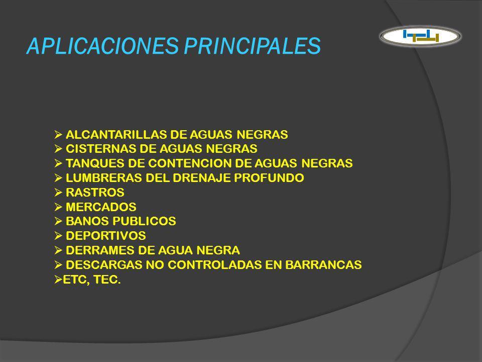 APLICACIONES PRINCIPALES ALCANTARILLAS DE AGUAS NEGRAS CISTERNAS DE AGUAS NEGRAS TANQUES DE CONTENCION DE AGUAS NEGRAS LUMBRERAS DEL DRENAJE PROFUNDO