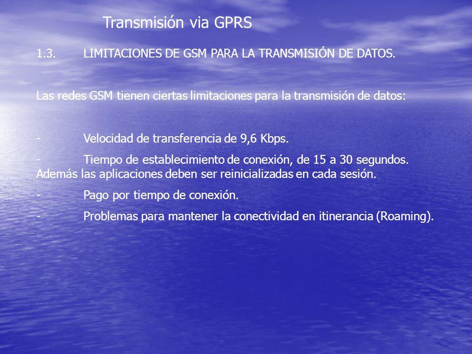 Transmisión via GPRS 1.3.LIMITACIONES DE GSM PARA LA TRANSMISIÓN DE DATOS. Las redes GSM tienen ciertas limitaciones para la transmisión de datos: -Ve