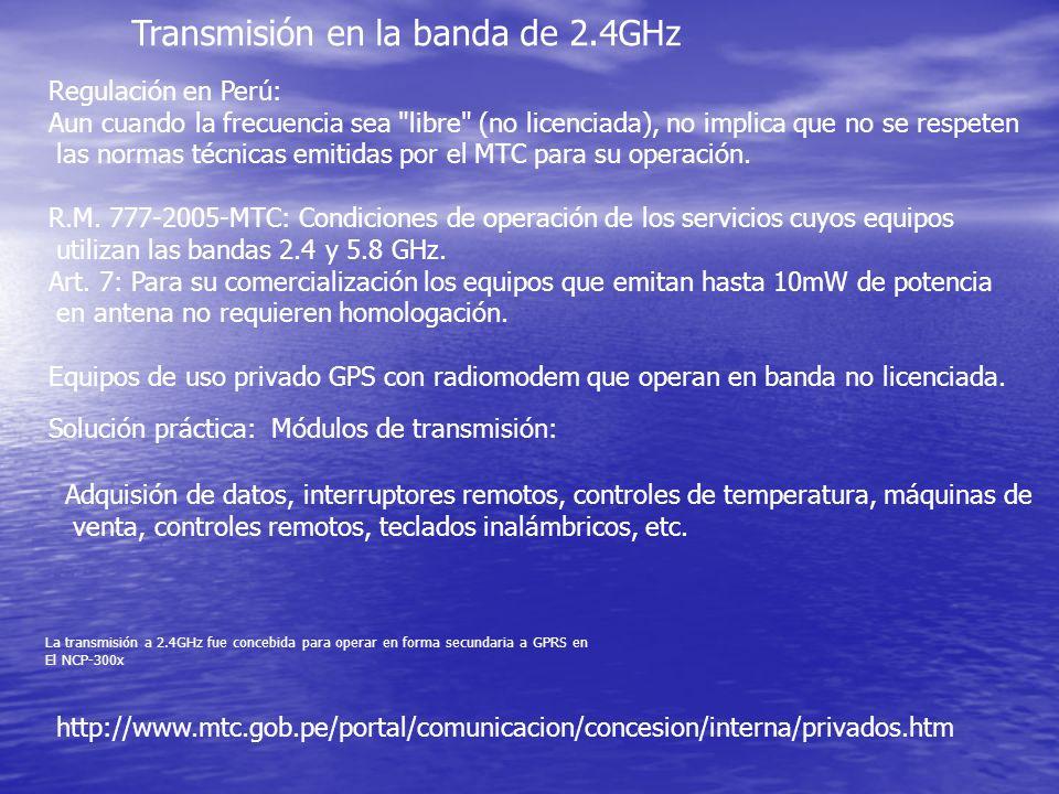Transmisión en la banda de 2.4GHz Solución práctica: Módulos de transmisión: Regulación en Perú: Aun cuando la frecuencia sea