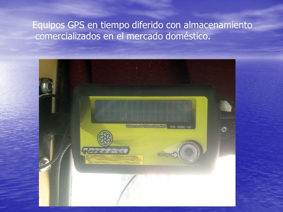 Equipos GPS en tiempo diferido con almacenamiento comercializados en el mercado doméstico.