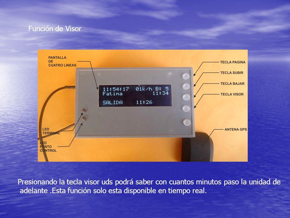 Función de Visor Presionando la tecla visor uds podrá saber con cuantos minutos paso la unidad de adelante.Esta función solo esta disponible en tiempo