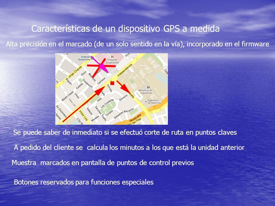 Características de un dispositivo GPS a medida Alta precisión en el marcado (de un solo sentido en la vía), incorporado en el firmware Se puede saber