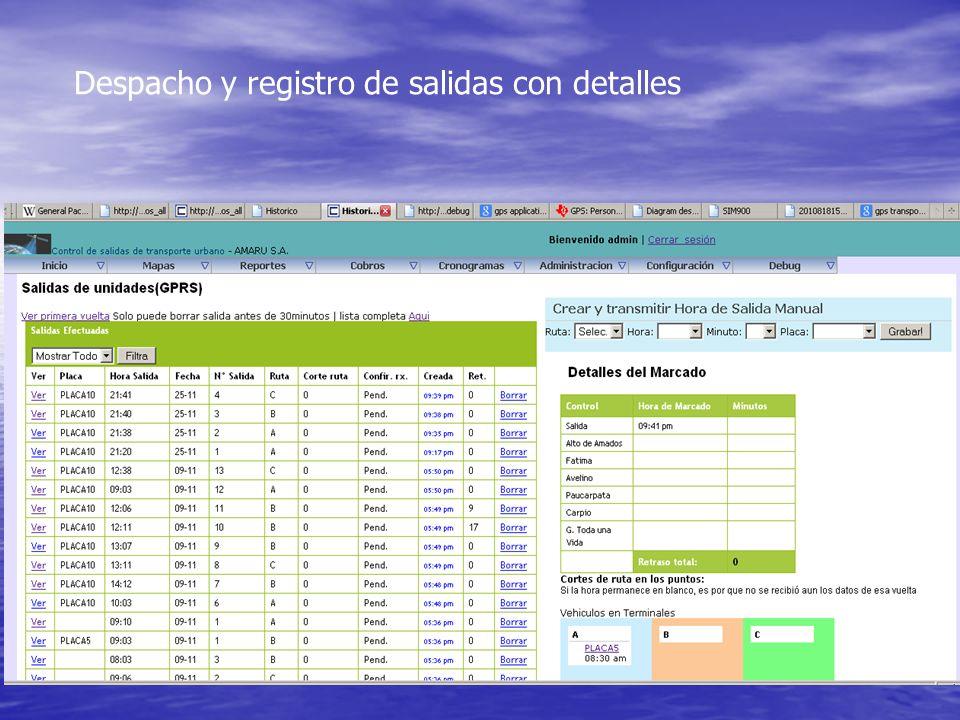 Despacho y registro de salidas con detalles