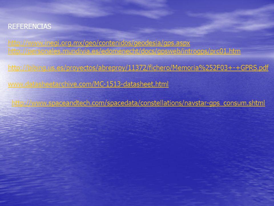 REFERENCIAS http://www.inegi.org.mx/geo/contenidos/geodesia/gps.aspx http://personales.mundivia.es/edomenecht/docs/gpsweb/introgps/prc01.htm http://bi
