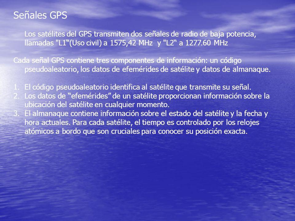 Señales GPS Los satélites del GPS transmiten dos señales de radio de baja potencia, llamadas