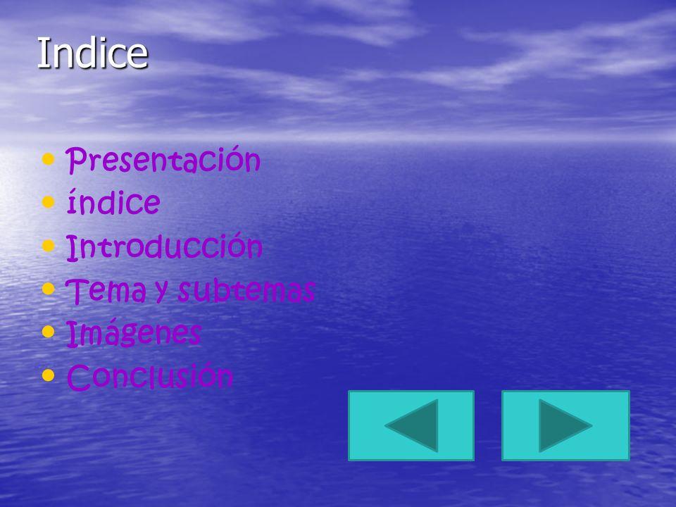 Indice Presentación índice Introducción Tema y subtemas Imágenes Conclusión