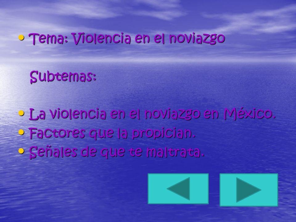 Tema: Violencia en el noviazgo Tema: Violencia en el noviazgo Subtemas: Subtemas: La violencia en el noviazgo en México. La violencia en el noviazgo e
