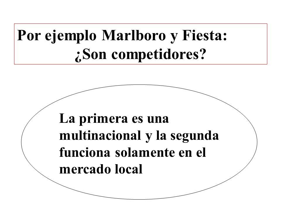 Por ejemplo Marlboro y Fiesta: ¿Son competidores? La primera es una multinacional y la segunda funciona solamente en el mercado local