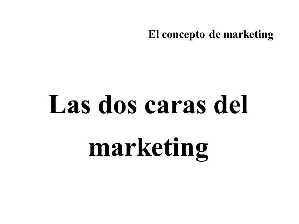El concepto de marketing Las dos caras del marketing