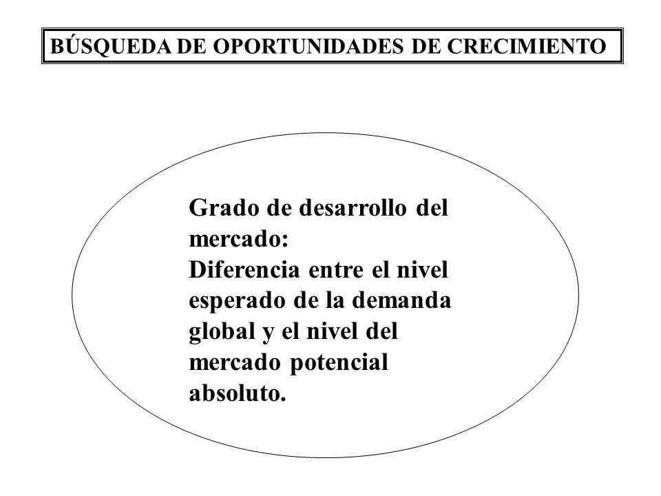 BÚSQUEDA DE OPORTUNIDADES DE CRECIMIENTO Grado de desarrollo del mercado: Diferencia entre el nivel esperado de la demanda global y el nivel del mercado potencial absoluto.
