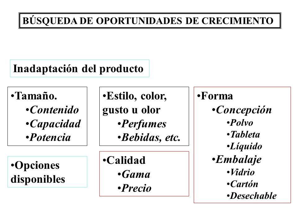 BÚSQUEDA DE OPORTUNIDADES DE CRECIMIENTO Inadaptación del producto Tamaño. Contenido Capacidad Potencia Opciones disponibles Estilo, color, gusto u ol