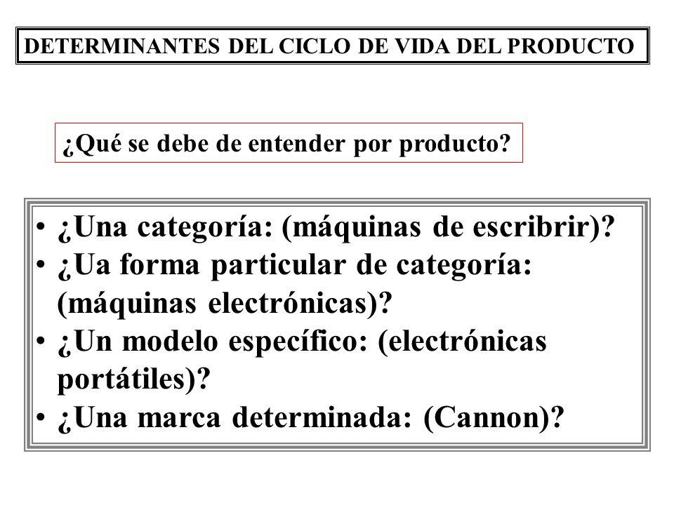 DETERMINANTES DEL CICLO DE VIDA DEL PRODUCTO ¿Una categoría: (máquinas de escribrir)? ¿Ua forma particular de categoría: (máquinas electrónicas)? ¿Un